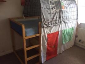 IKEA kura reversible bed with tent and curtain