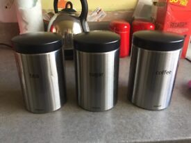 BRABANTIA tea coffee and sugar containers