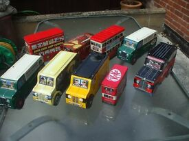 COLLECTION OF 9 LORRY AND BUS BISCUIT TINS