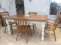 Large Pine Dining Table & Chairs