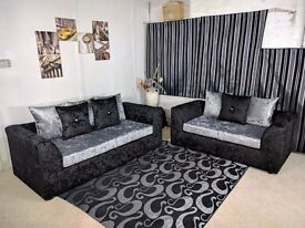 BLACK AND SILVER FINISH == DYLAN CRUSH VELVET CORNER SOFA == SAME DAY DELIVERY