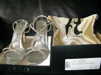Size UK 6 Gina Shoes/Sandals in Silver with Swarovski Crystals