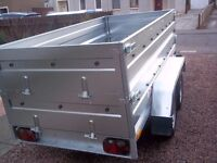 New Trailers twin axle, double broadside flat cover free