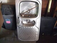 Two bowl Kitchen sink. Stainless steel.With mixer tap.