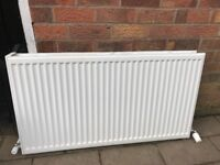 Two large double radiators with thermostats
