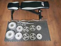 Cast iron weights and bench