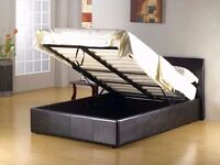 BRAND NEW DOUBLE OTTOMAN GAS LIFT STORAGE LEATHER BED IN BLACK/BROWN WITH MEDIUM FIRM MATTRESS