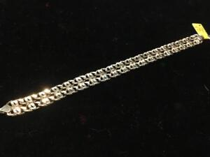 """#1462 14K GOLD MEN'S DOUBLE MARINE LINK BRACELET 8.5"""" IN LENGTH. CALLING ALL SAILORS! THIS BRACELETS LOOKING FOR YOU!"""