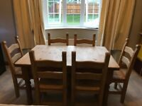 "Pine Kitchen or Dining table (4'6""/5'9"" x 3') with 6 chairs - Andover"