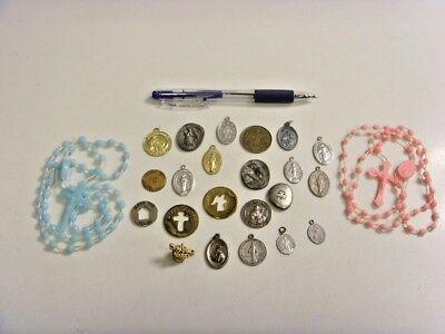 24 vintage antique Catholic items lot saints Mary religious tokens rosary 49650