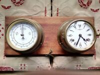 Antique German manufactured ship's clock and barometer by Wempe