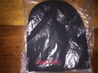 SNAP ON FULL ON BLACK BEANIE HAT