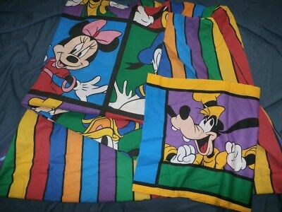 Vintage Disney Twin Sheet Set Mickey Goofy Pluto Purple Green Stripe Portraits