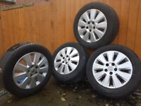 16 INCH VAUXHALL ALLOY WHEELS with TYRES
