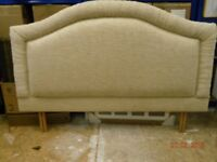 HEADBOARD. NEUTRAL COLOUR. PADDED. AS NEW CONDITION. COMPLETE WITH LEGS.
