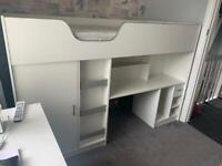 Kids Cabin Bed With Wardrobe & Desk