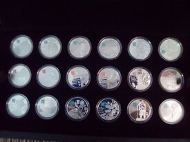 ROYAL MINT OFFICIAL 2012 OLYMPIC GAMES SET OF 18 SILVER PROOF COINS