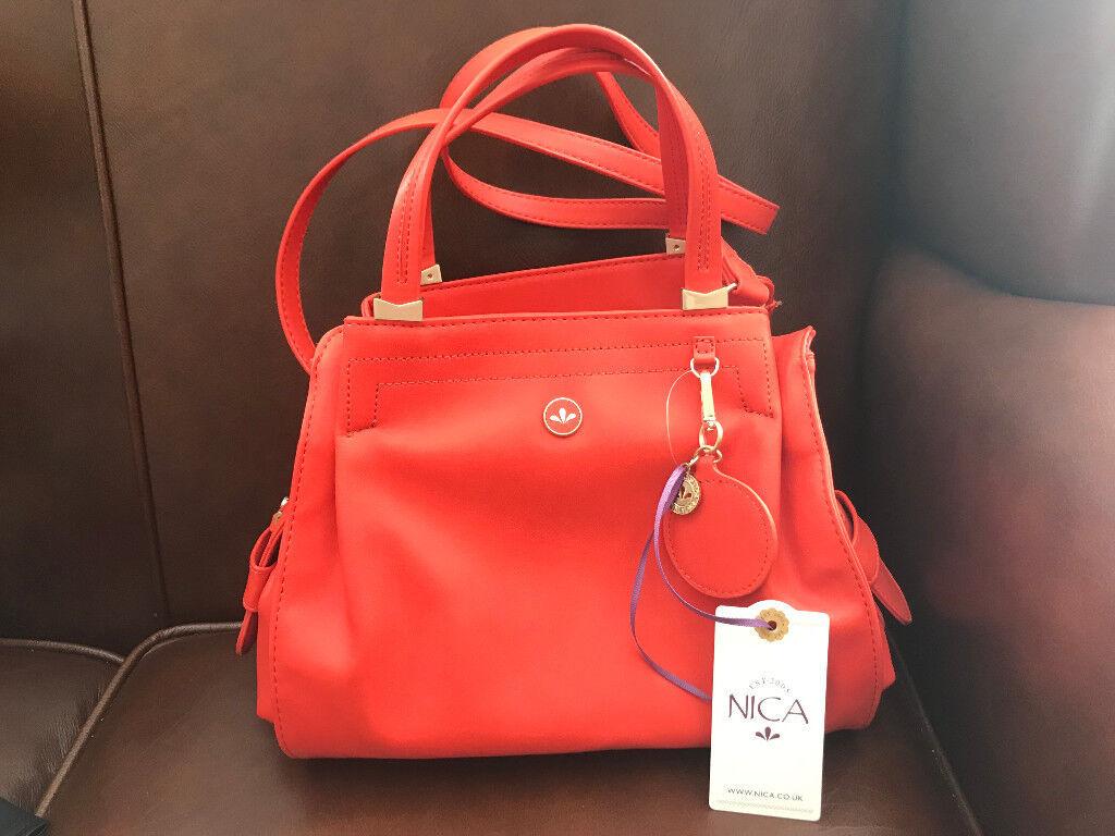 3d1e5c6bc1b Designer Nica Ava Red Orange Grab Shoulder Bag Handbag Brand New with Tags  Was £55