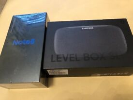 SEALED. BOX SAMSUNG. GALAXY NOTE 8 BLACK AND SAMSUNG BLUETOOTH LEVEL BOX SLIM WITH RECEIPT