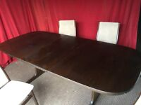 DARKWOOD EXTENDABLE DINING TABLE WITH 4 CHAIRS,CAN DELIVER