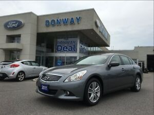 2011 Infiniti G37X AWD SEDAN| LEATHER|SUNROOF|LOW KM!!