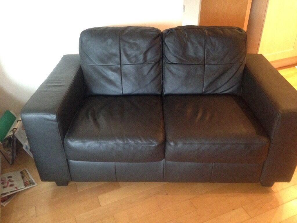 Black leather Ikea Sofa 2 Seat