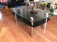 Black clear glass coffee table (New Carla) 5 months old
