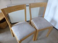 2 Wooden Suede Covered Seat Dinning Chairs