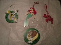 Disney Christmas ornaments. 2 Little Mermaid (Ariel) and 2 Beauty and the Beast wood ornaments
