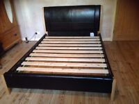 Brown Leather and Wood King Size Bed Frame