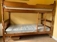 Solid pine bunk bed, mattresses and chest of drawers