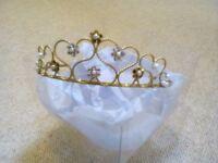 Beautiful Tiara in matt gold colour with pearl & diamond effect flowers