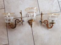 3 Number Brass wall lights and fluted glass shades