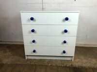 White with Blue Handles 4 Drawer Chest of Drawers Wood Veneer