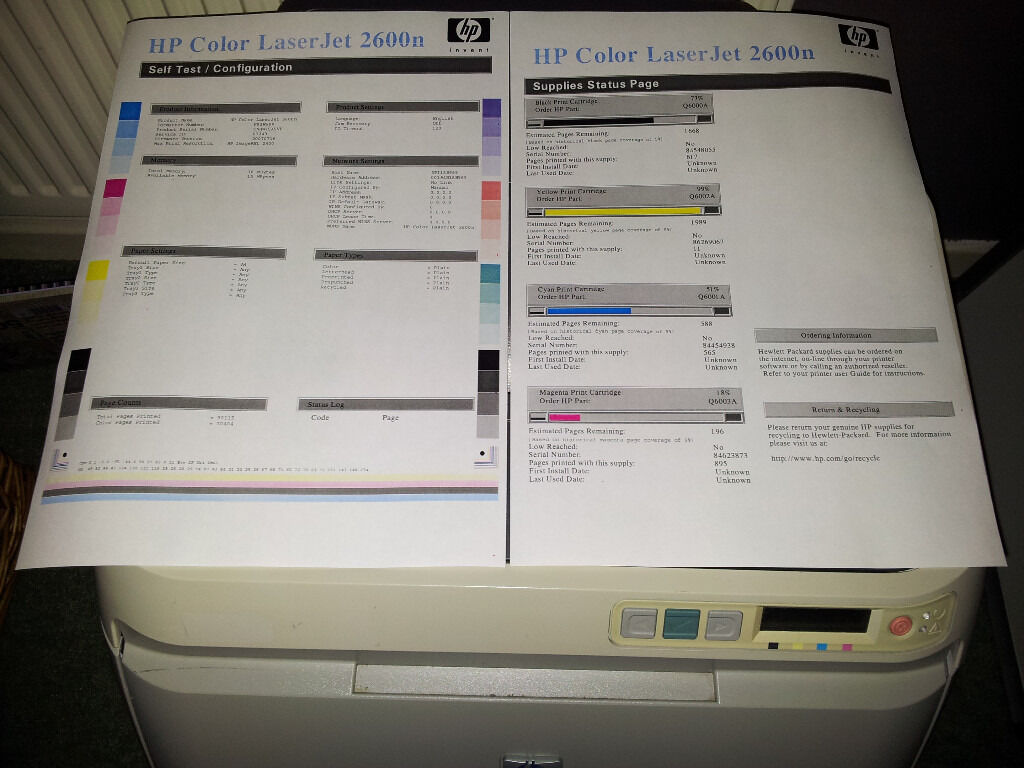 Hp Colour Laserjet 2600n Printer With Toners Patch Into Your