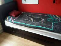 Leather bed with draws