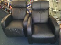 2 black leather recliner chairs £35 pair