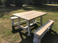 Lovely rustic dining table and benches
