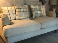 FOR SALE - Beige / light blue 3 piece suite with matching foot stool