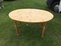 "Egg shape pine table, 54""x32"" x29"" high"