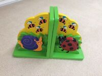 Colourful Wooden painted book ends