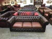 Stunning brown leather chesterfield 3 seater sofa UK delivery