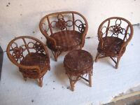 A108 Childs toy furniture Table ,sofa & 2 side chairs in wicker
