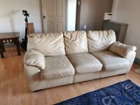3 seater sofe cream leather with recliner chair