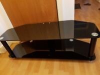 "Black Glass TV stand, Holds upto 52"" TV, Chrome detailing"