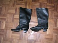 Black calf length leather boots - size 5.