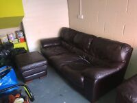 3 Seater + 2 Seater Brown Leather Sofas + Pouf
