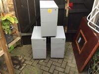 Set of 3 Metal Filing Cabinets