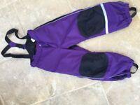 Girls purple ski trousers salopettes age 5-6