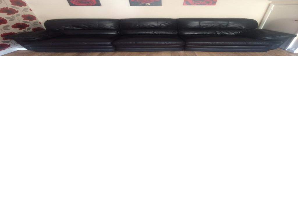 Three piece and two piece sofa black leather electrical recliner good